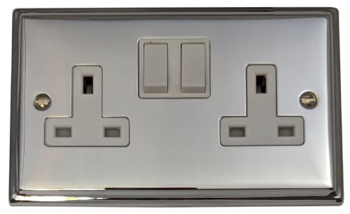 G&H DC10W Deco Plate Polished Chrome 2 Gang Double 13A Switched Plug Socket
